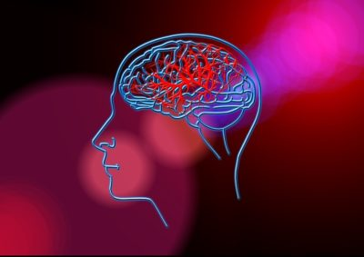 głowa człowieka zzarysowanym mózgiem